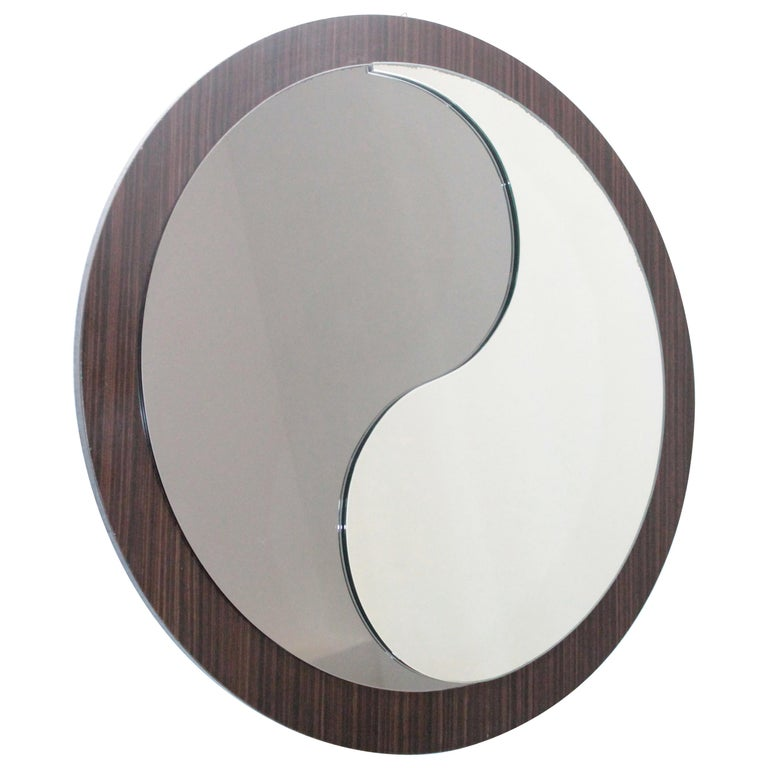 Round Wood Italian Vintage Mirror Tao Design Artglass, 1970s For Sale