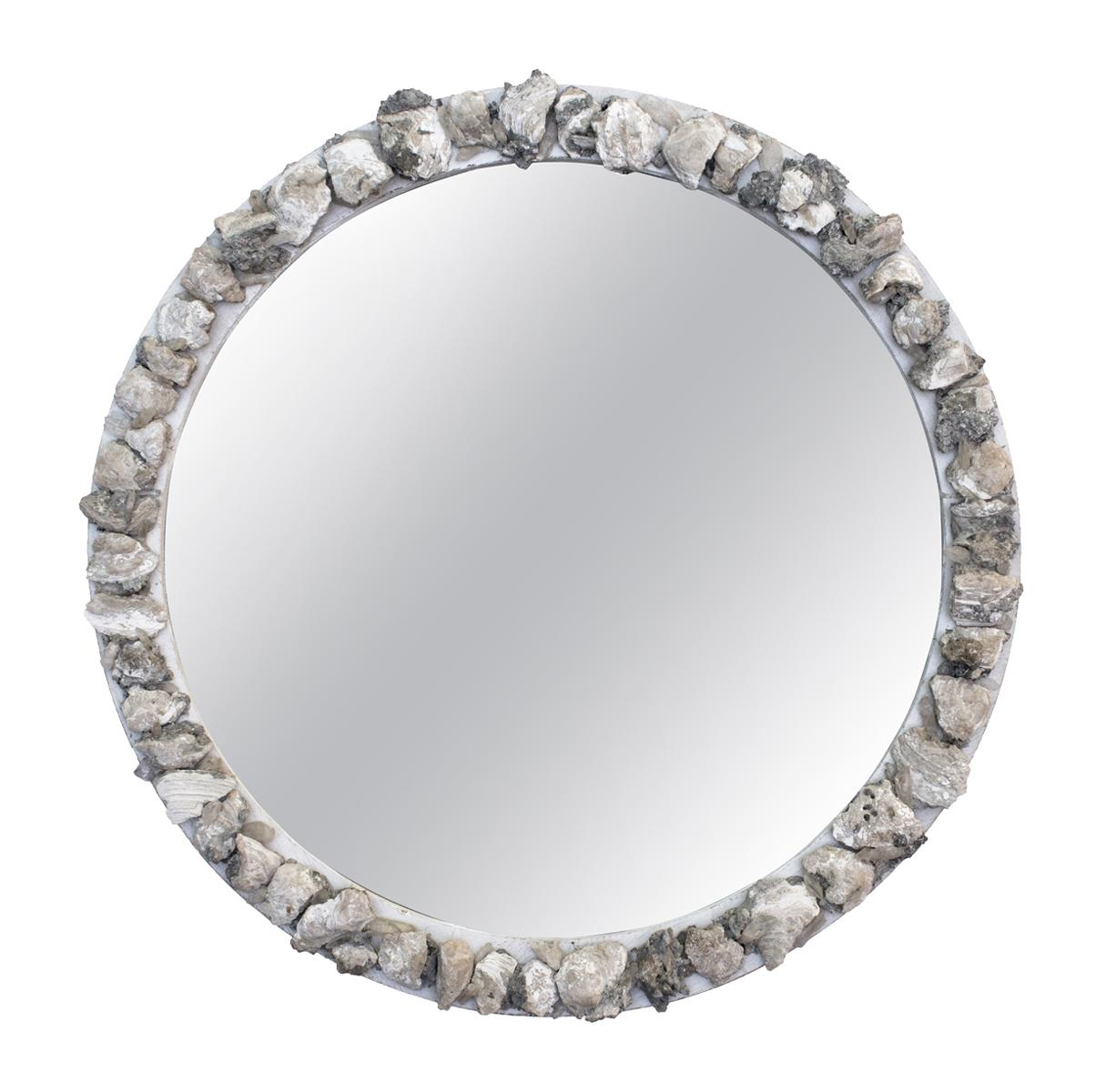Round Wood Mirror with Fossil Clam Shells and Crystal Points