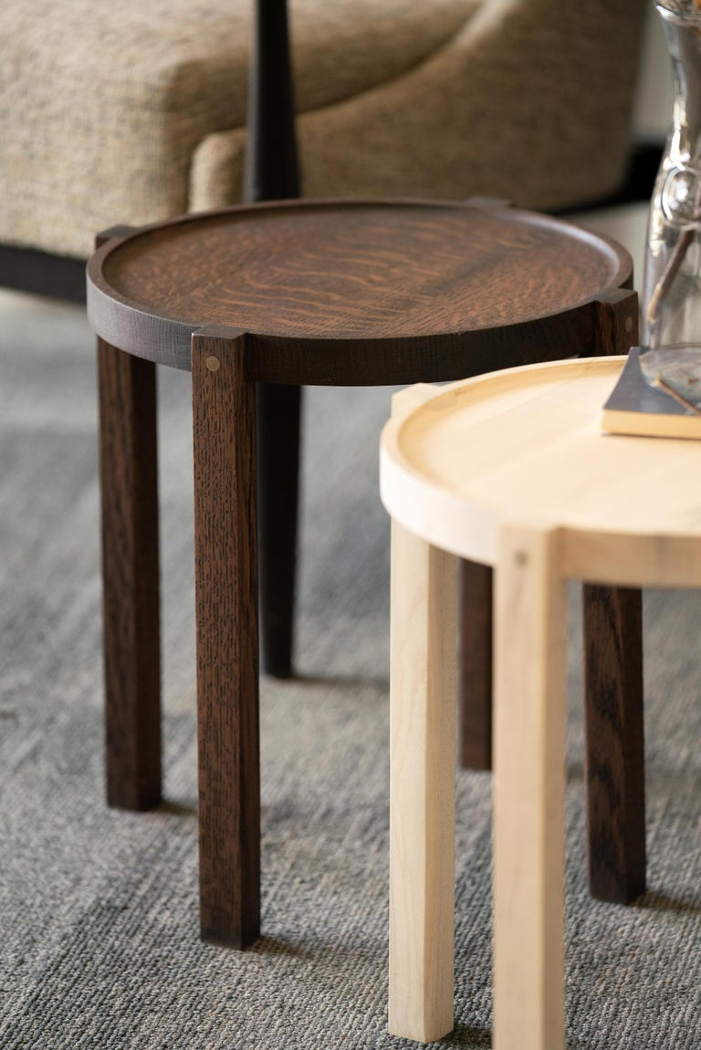 Woodwork Round Wood Side Table Black Color White Oak with Brass Details For Sale