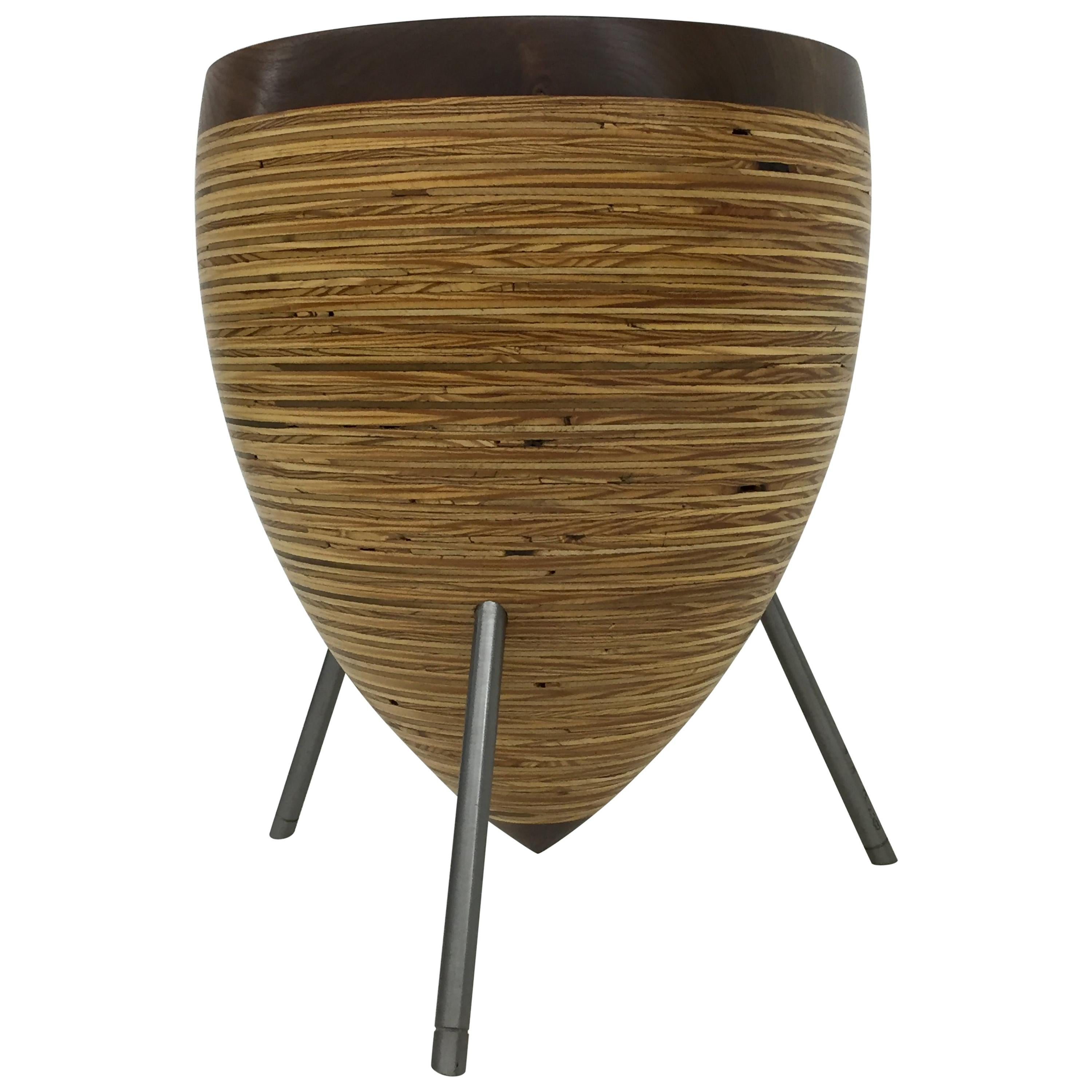 Round Wood Stool and Side Table with Steel Legs 'Lg'