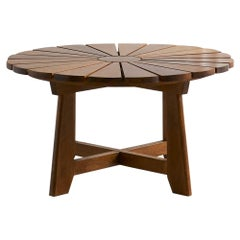 Round Wooden Coffee Table, France