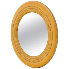 Round Wooden Studio Made Artist Signed Wall Mirror