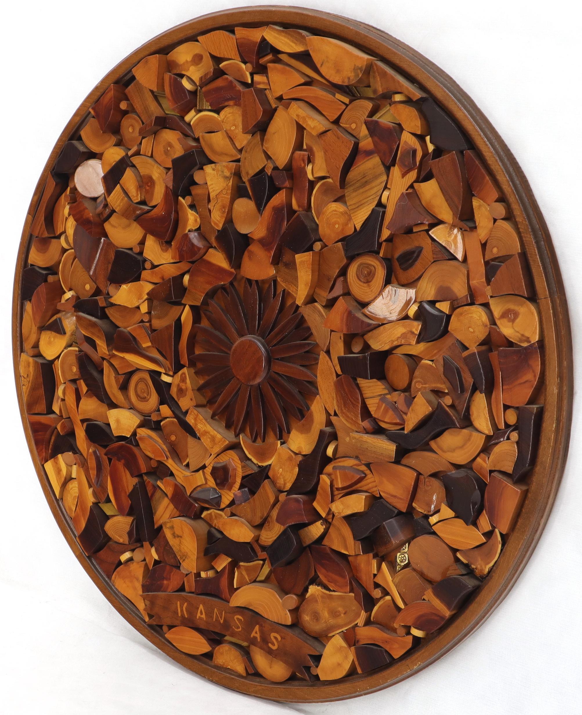 Round Wooden Wall Plaque Sculpture Sunburst