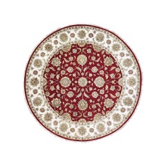 Round Wool and Silk Red Rajasthan Hand Knotted Oriental Rug