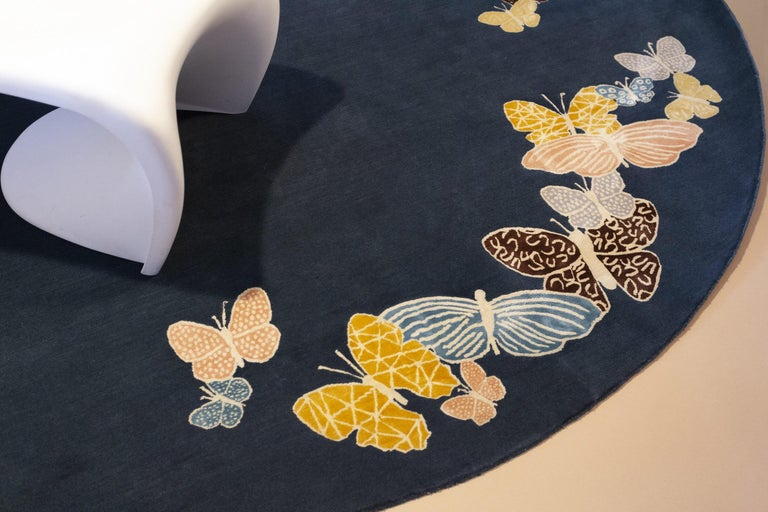 Teal, blue, orange, pink, Round Wool & Silk Rug, Butterfly pattern 150 Knots For Sale 1