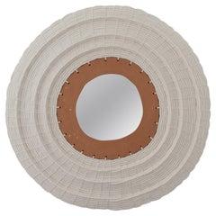 Round Woven Cotton and Ceramic Mirror