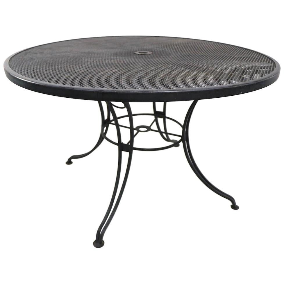 Round Wrought Iron Garden Patio Table Attributed to Woodard