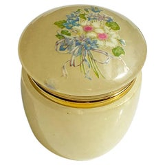 Round Yellow Alabaster Stone Trinket Box with Floral Motif, Italy