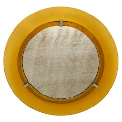 Round Yellow Convex Glass and Chrome Wall Mirror by Veca, Italy, 1960s