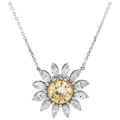 Round Yellow Diamond and Marquise White Diamond Starburst Pendant Necklace