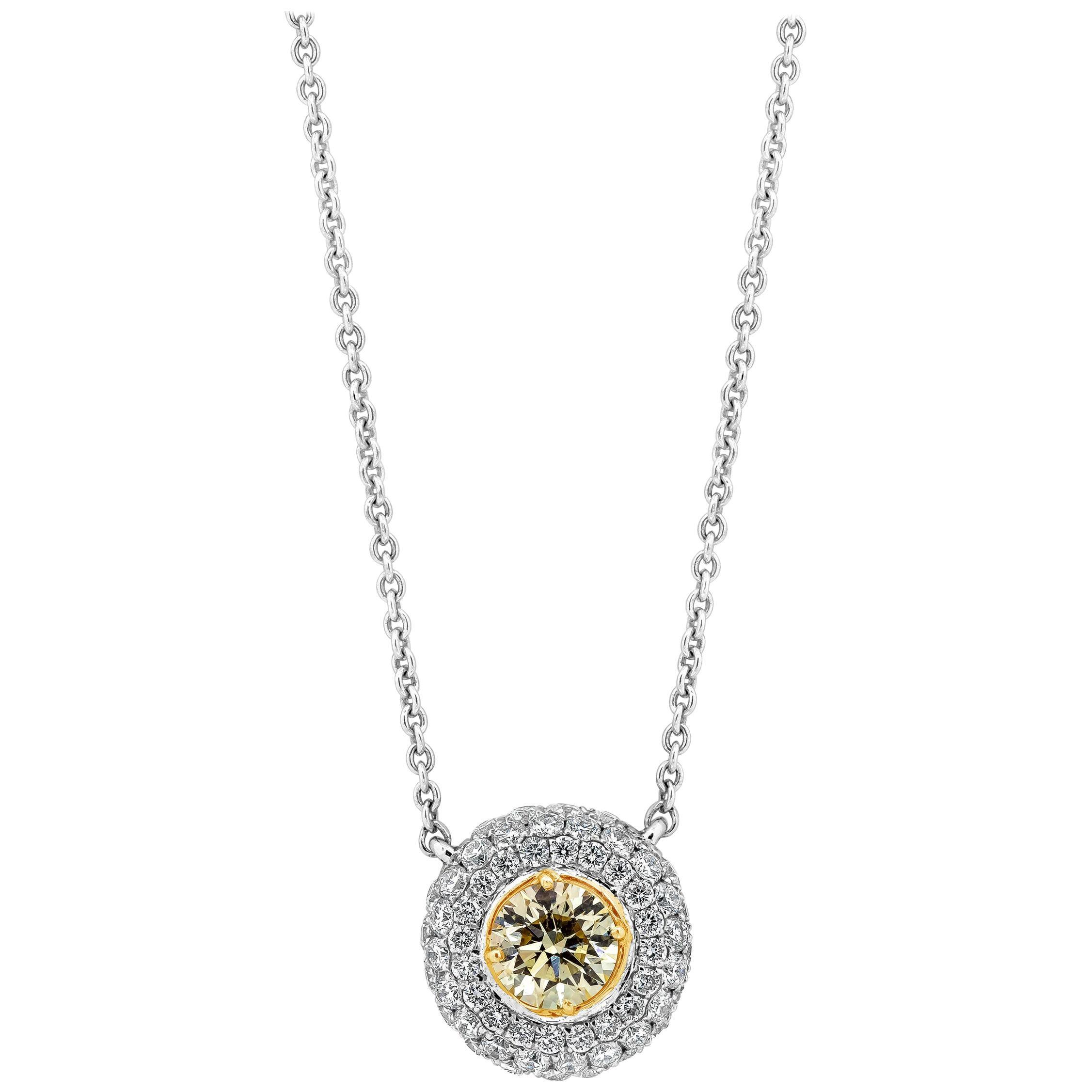 Roman Malakov Round Yellow Diamond Halo Pendant Necklace