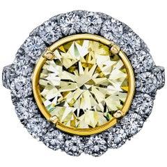 Round Yellow Diamond Ring 5.32 Carat, Set in Platinum/18 Karat Yellow Gold