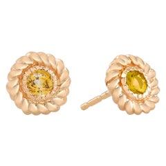 Round Yellow Sapphire Braided Bezel Set Stud Earrings