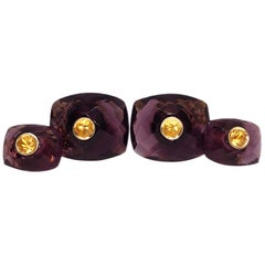 Round Yellow Sapphire Hand Inlaid Faceted Amethyst Setting Yellow Gold Cufflinks