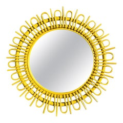 Round Yellow Sunburst Rattan Bamboo Mirror in the style of Rosenthal Netter 1970