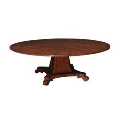 Round Yew Wood Veneered Pedestal Base Dining Table