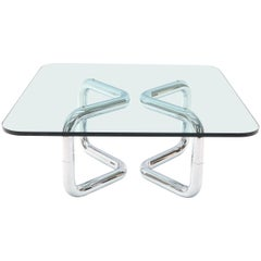Rounded Corners Square Coffee Table on Thick Bent Tube Chrome Base