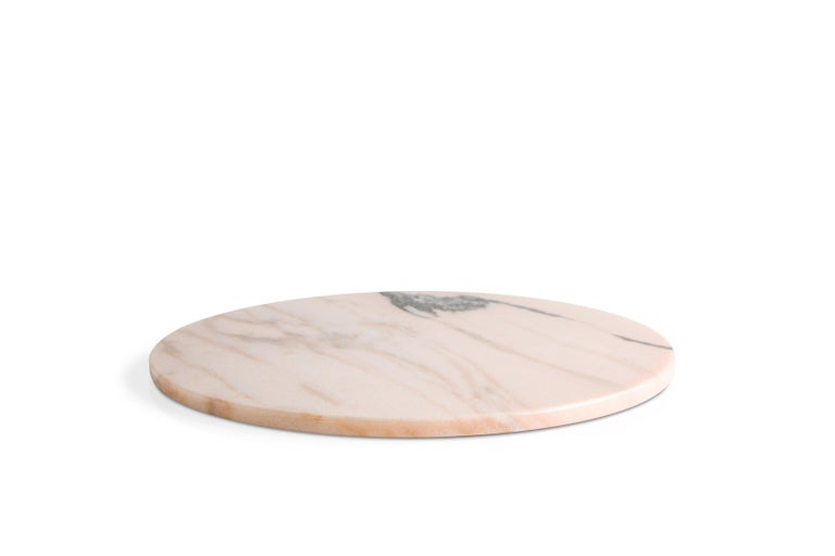 Hand-Crafted Rounded Dark Green Marble Cheese Plate For Sale