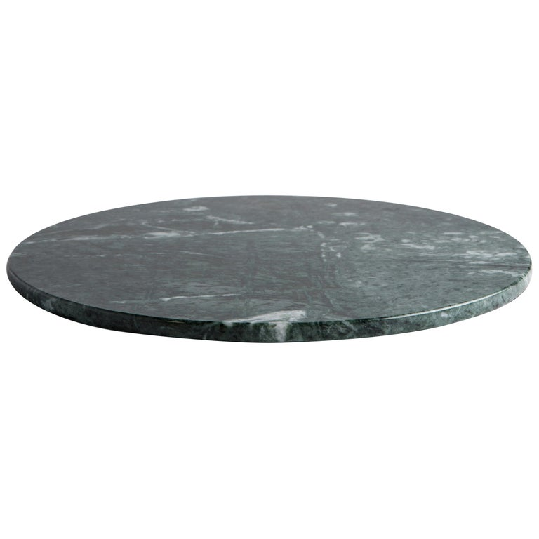 Rounded Dark Green Marble Cheese Plate For Sale