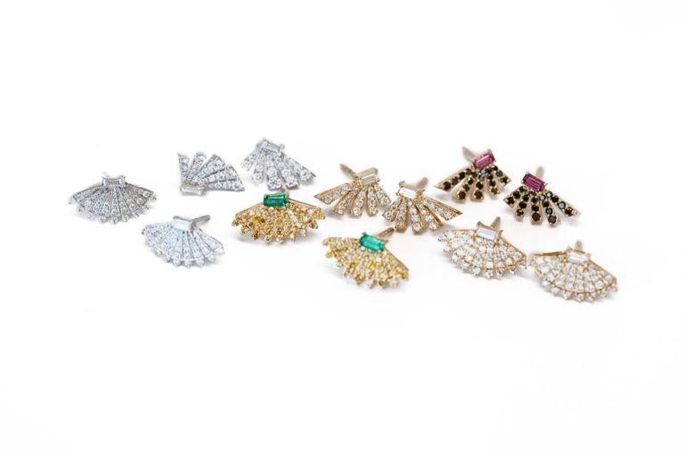 Women's Rounded Fan Diamond Earrings For Sale