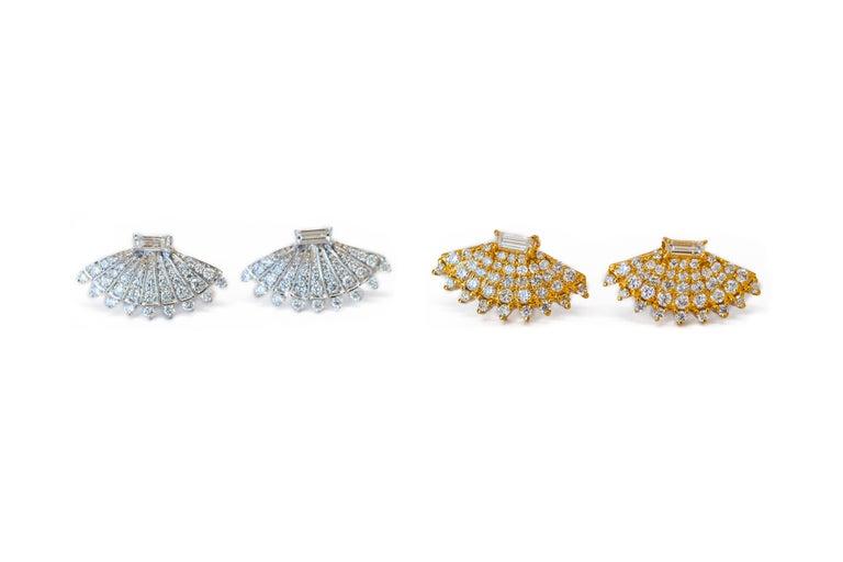 Rounded Fan Diamond Earrings In New Condition For Sale In Houston, TX