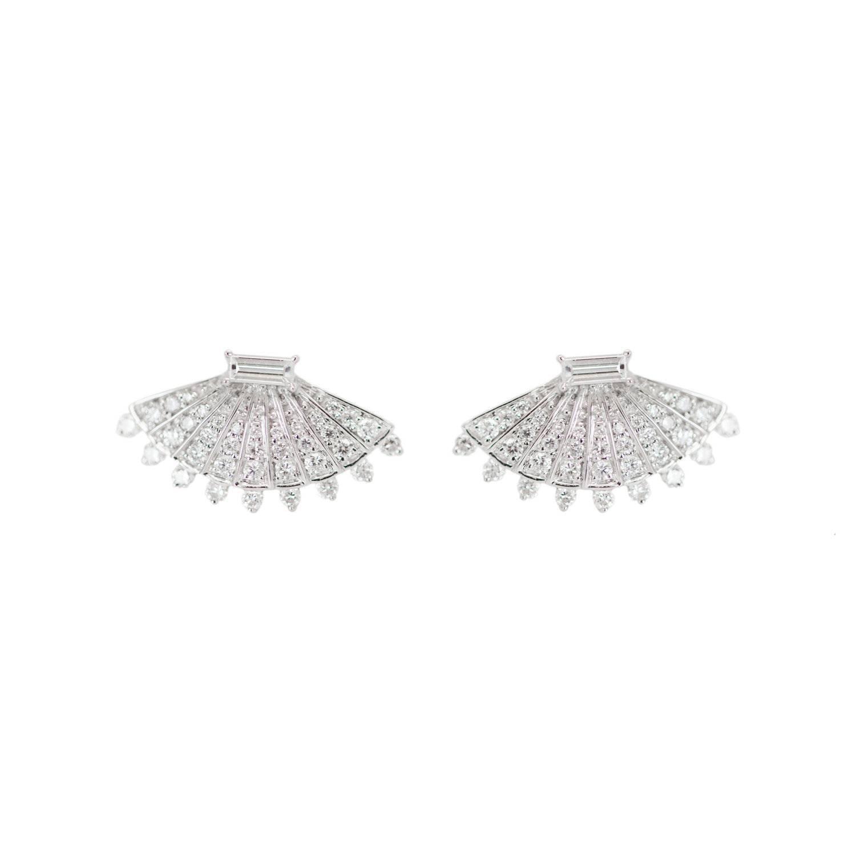 Rounded Fan Diamond Earrings