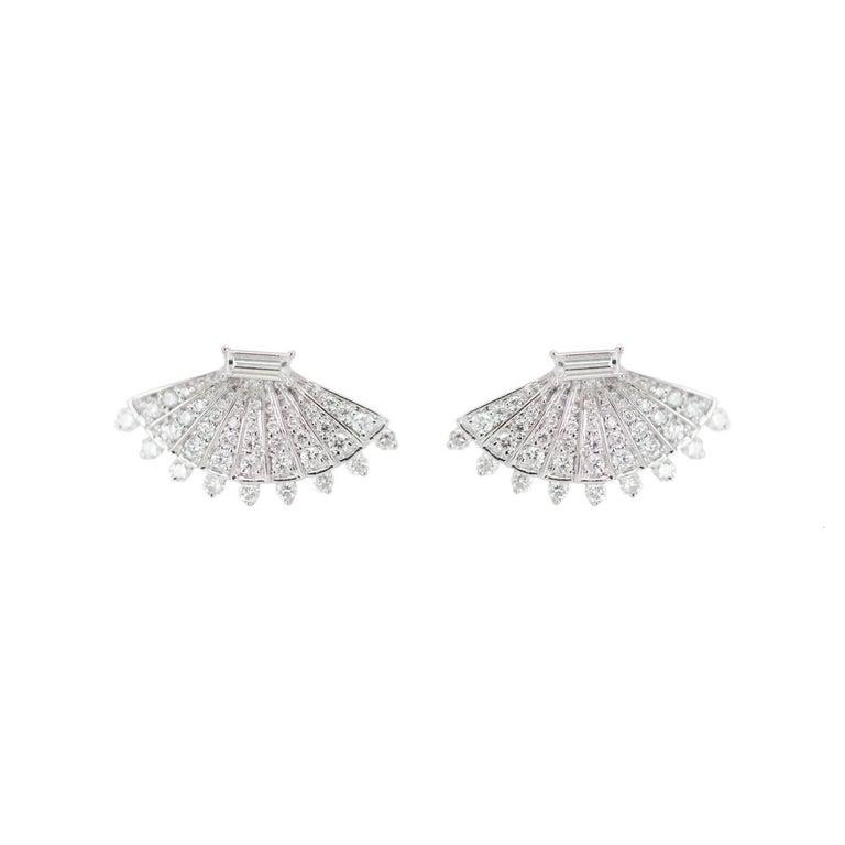 Rounded Fan Diamond Earrings For Sale