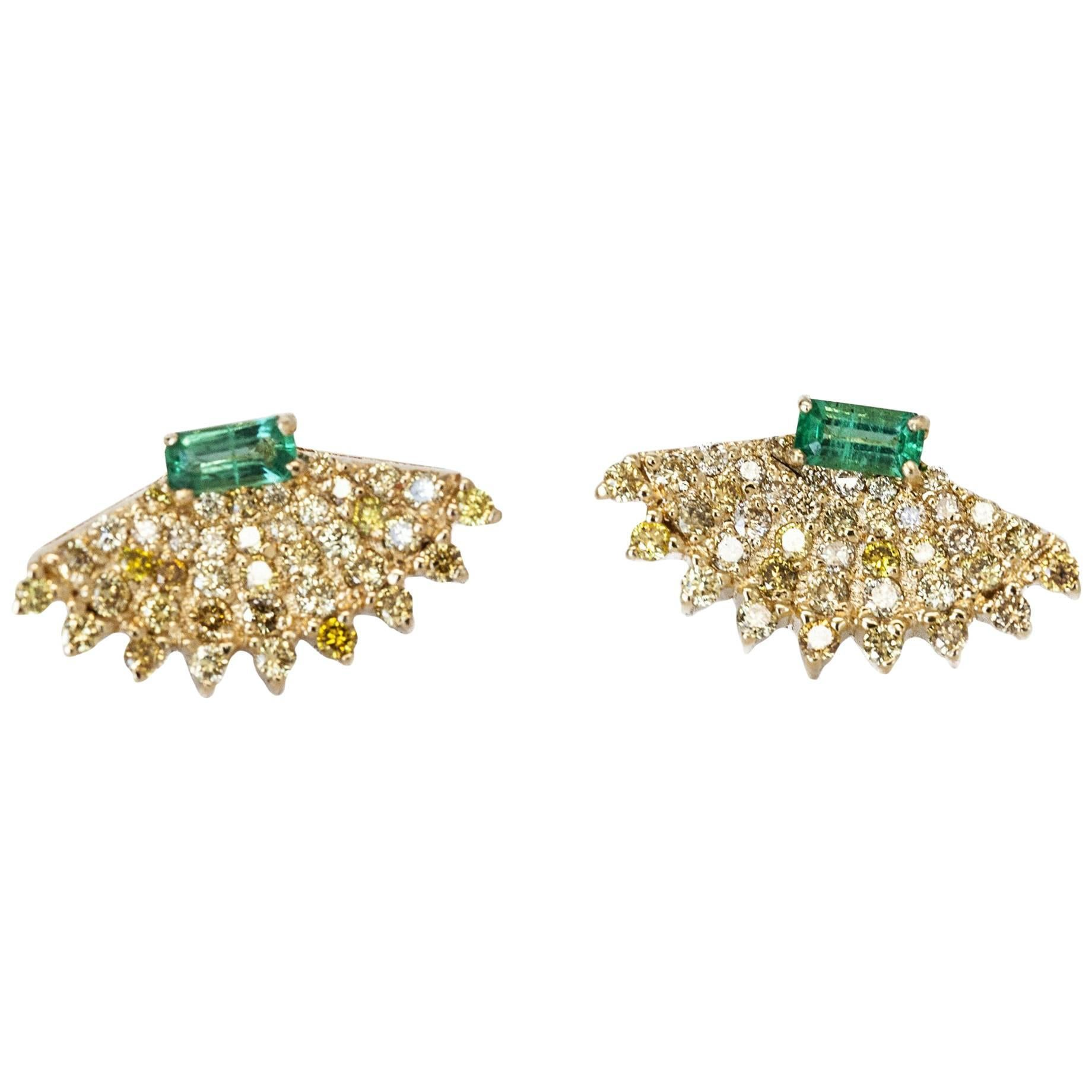 Rounded Fan Earrings with Yellow Diamonds and Emeralds