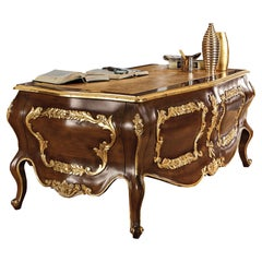 Rounded Luxury Classical Office Desk, Gold Leaf by Modenese Gastone Interiors