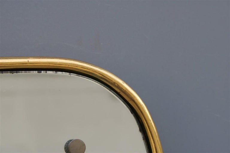 Rounded Midcentury Wall Mirror 24-Karat Gold Wood Italian Design Gio Ponti Style For Sale 3