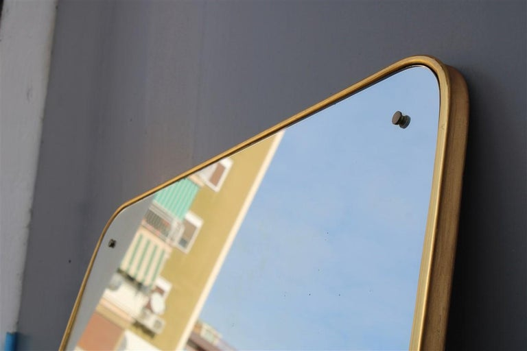 Rounded midcentury wall mirror 24-karat gold wood Italian design Gio Ponti style,