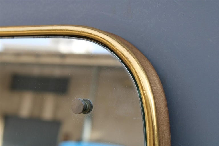 European Rounded Midcentury Wall Mirror 24-Karat Gold Wood Italian Design Gio Ponti Style For Sale