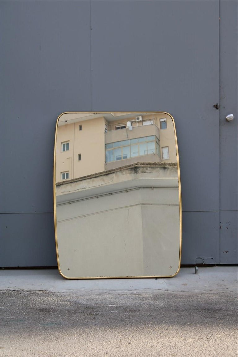 Mid-20th Century Rounded Midcentury Wall Mirror 24-Karat Gold Wood Italian Design Gio Ponti Style For Sale