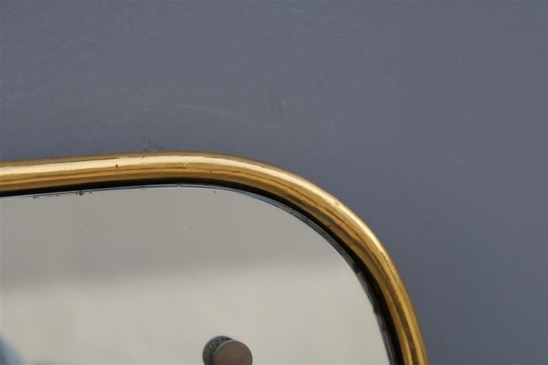 Rounded Midcentury Wall Mirror 24-Karat Gold Wood Italian Design Gio Ponti Style For Sale 2
