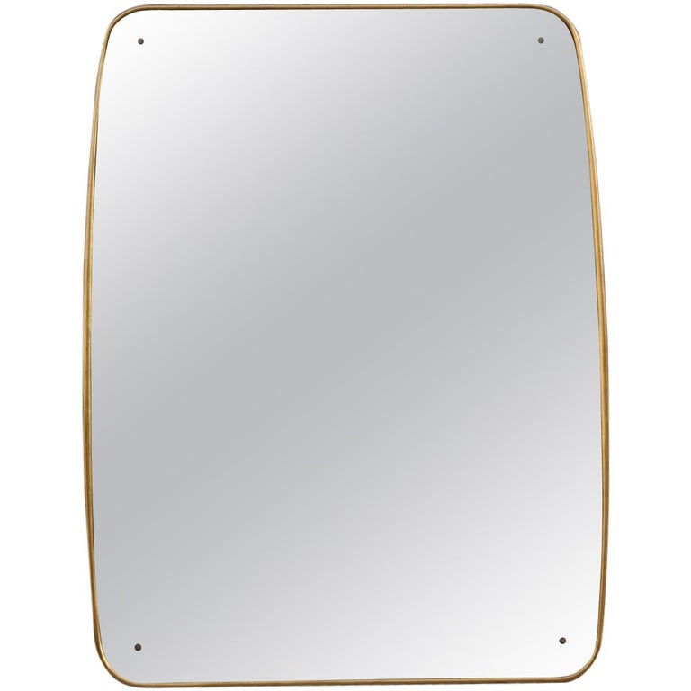 Rounded Midcentury Wall Mirror 24-Karat Gold Wood Italian Design Gio Ponti Style For Sale