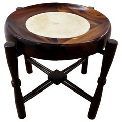Rounded Rosewood Side Table, End Table by Giuseppe Scapinelli