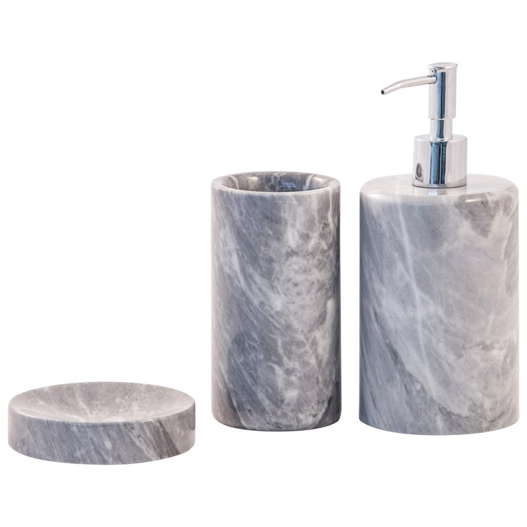 Rounded Set For Bathroom In Grey Bardiglio Marble For Sale