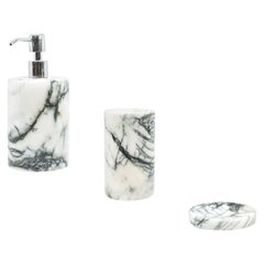 Rounded Set for Bathroom in Paonazzo Marble