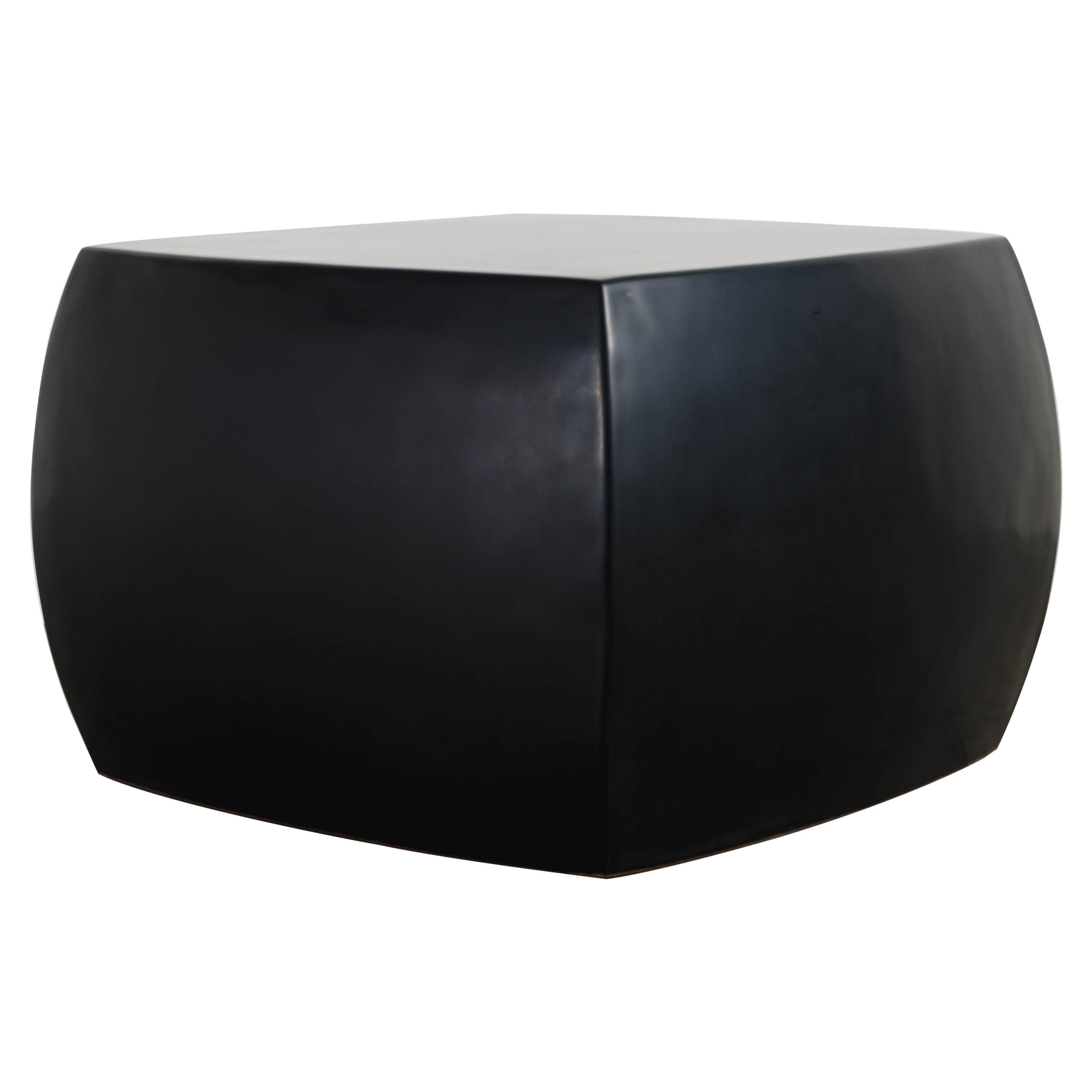 Rounded Square Stool, Black Lacquer by Robert Kuo, Hand Repousse, Limited