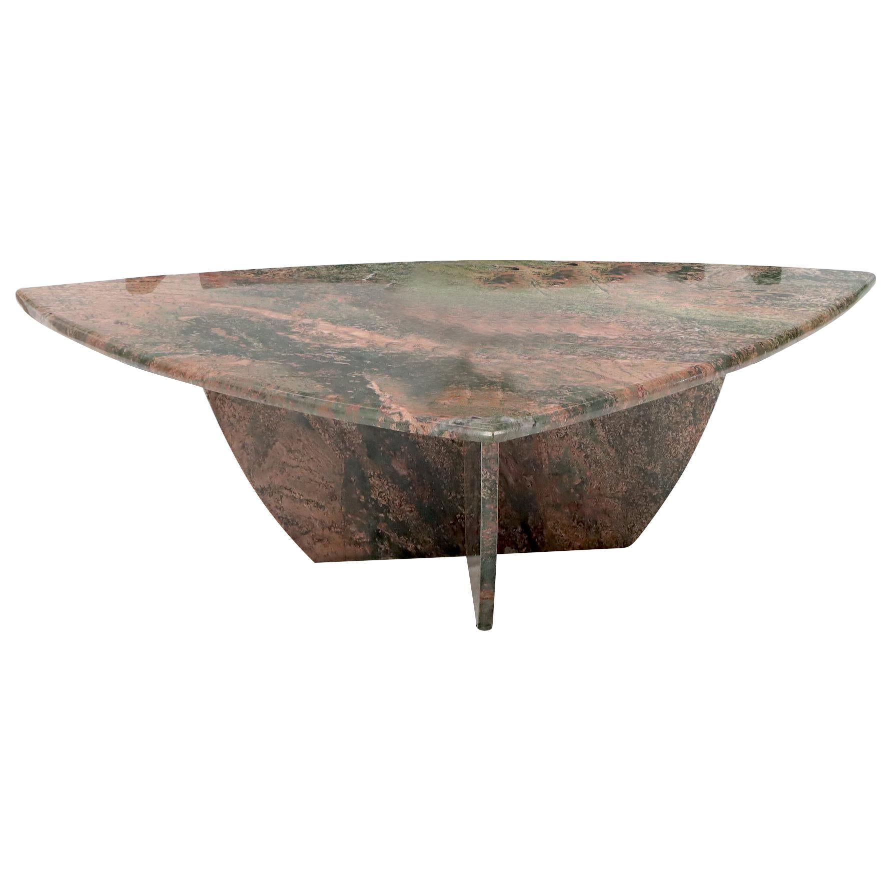 Rounded Triangle Shape Large Solid Marble Coffee Table