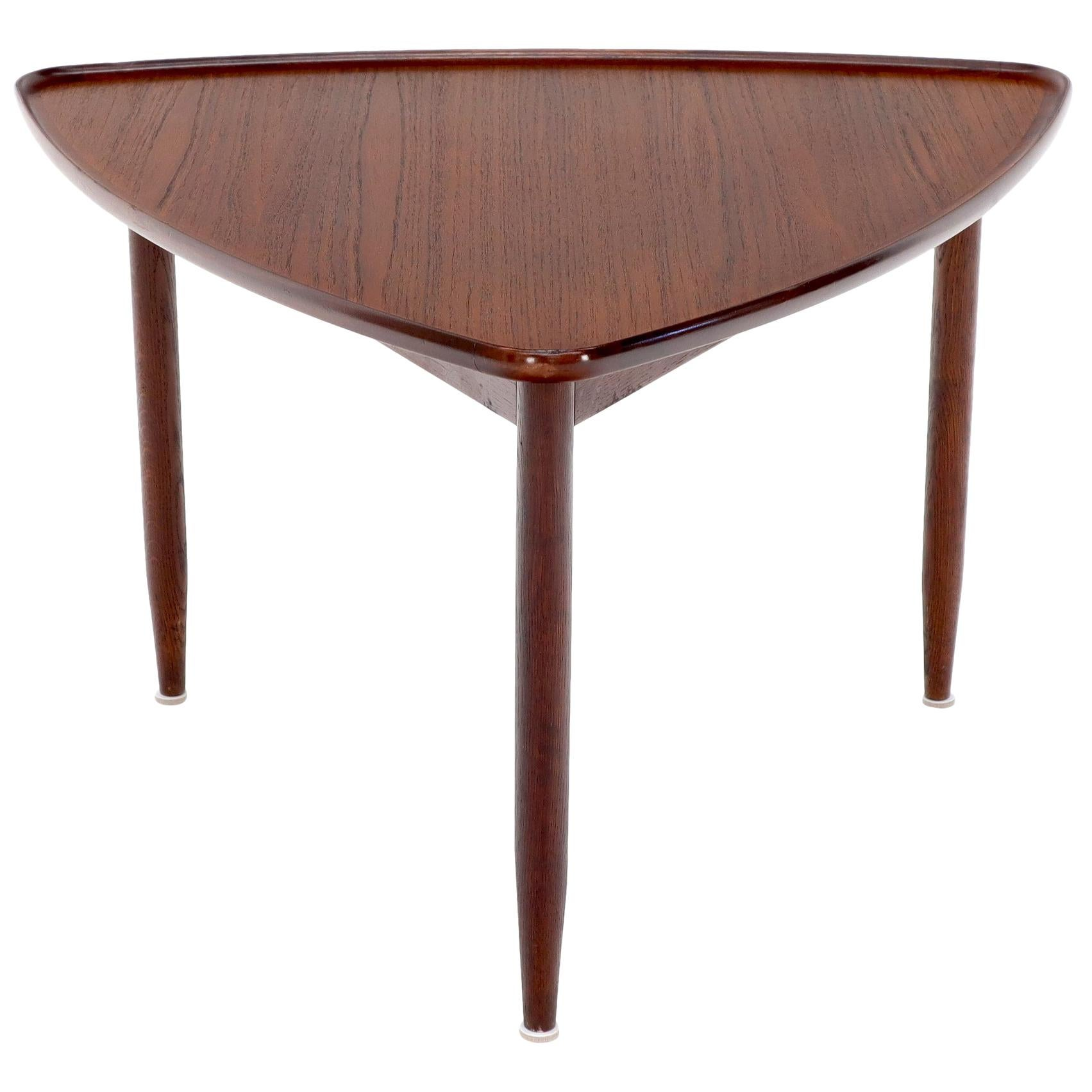 Rounded triangle Shape Teak Danish Modern Side Occasional Table Stand