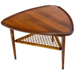 Rounded Triangular Shape Danish Mid-Century Modern Side Occasional Table Cane
