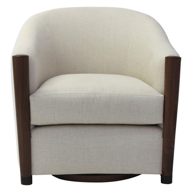Miraculous Rounded Tub Club Chair On Swivel Shown In Linen Fabric With Wood Arm Post Detail Gmtry Best Dining Table And Chair Ideas Images Gmtryco