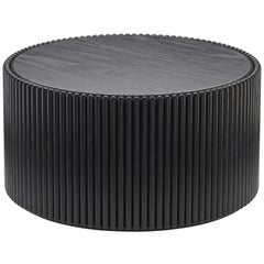Rounding Wood Coffee Table with Black Lacquer Finish by Debra Folz