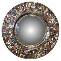 Roundy Convex Mirror,  Hand Painted Ceramic Flowers and Insects over White Metal