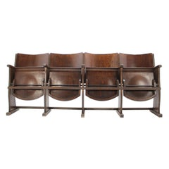 Row of Cinema Chairs / Bench by TON, 1950s 'Renovated'