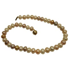 Row of Multicolored Bouton Shaped Cultured Pearls with 9 Carat Gold Ball Snap