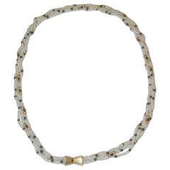 Row of Twisted White Multi-Bouton Shaped Cultered Pearls, 18ct Gold Snap