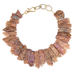 Row Stone Titanium Necklace