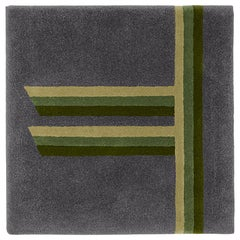 """Rowan"" Tree Alphabet Grey Owl and Green Wool Carpet or Tapestry by Rhyme Studio"